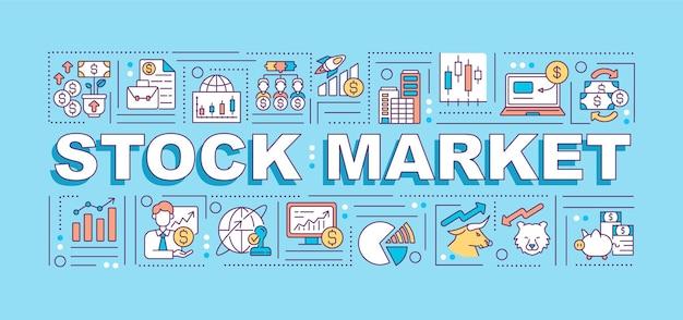 Ilustração de conceitos de palavras do mercado de ações