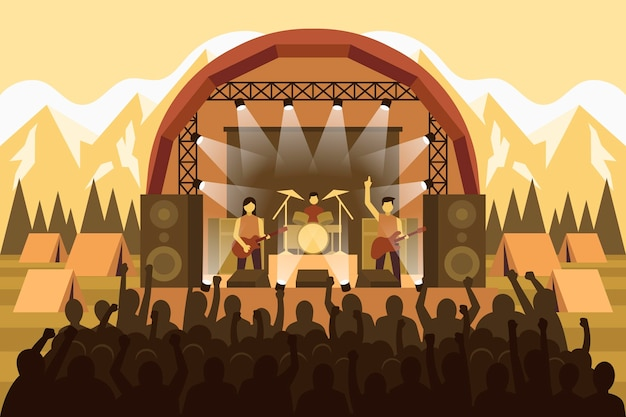 Ilustração de concerto ao ar livre