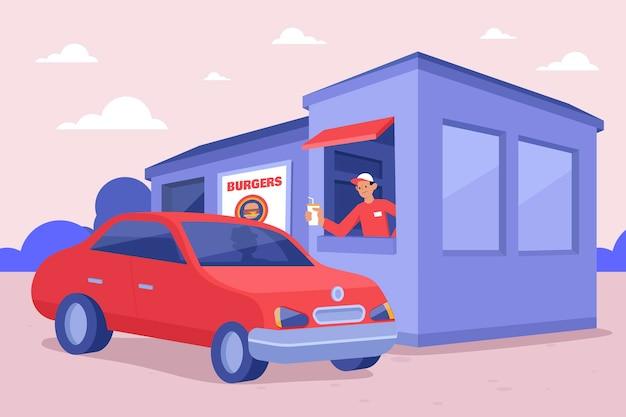 Ilustração de condução através da janela com veículo