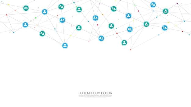 Ilustração de conectar pessoas e conceito de comunicação, rede social.