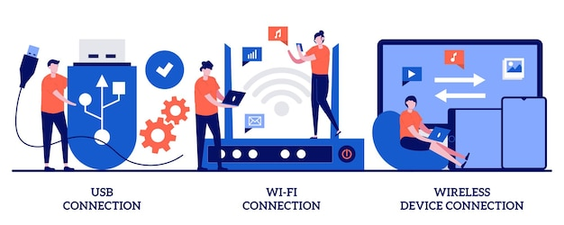Ilustração de conexão usb, dispositivo de distância wi-fi com pessoas minúsculas