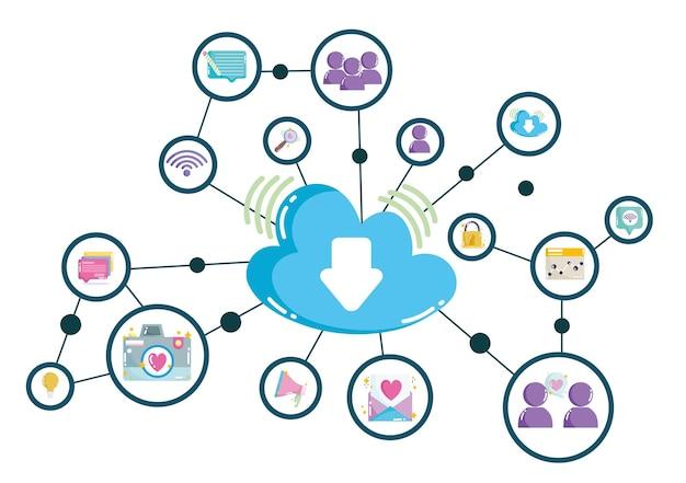 Ilustração de conexões de rede digital de tecnologia de computação em nuvem de mídia social