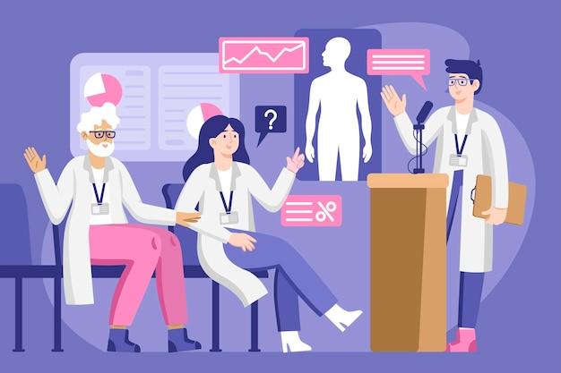 Ilustração de conferência médica plana orgânica
