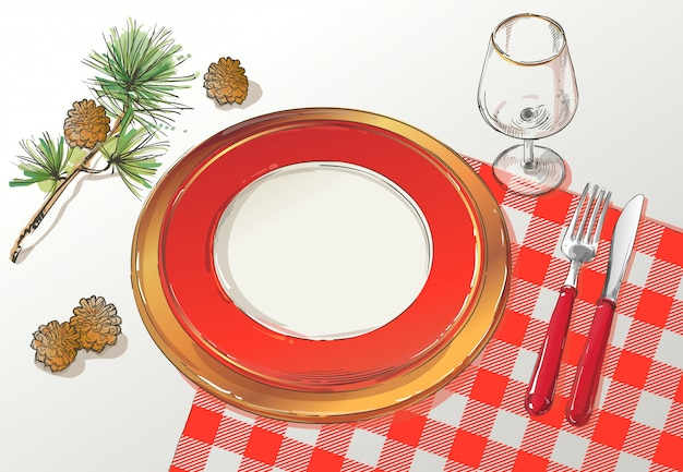 Ilustração de configuração de decoração de mesa de natal