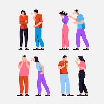 Ilustração de conflitos de casal