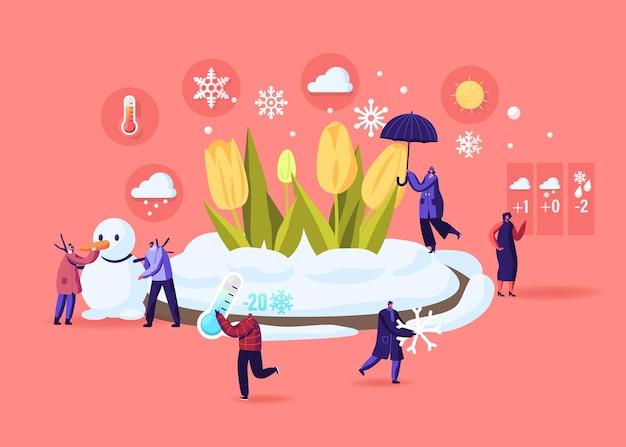 Ilustração de congelamento de primavera e mudança climática.