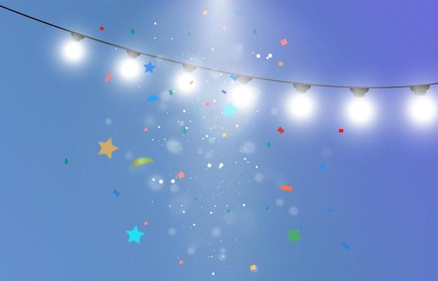 Ilustração de congratulação com muitas partículas caindo e guirlandas