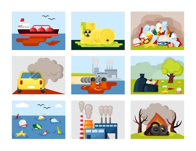 Ilustração de conjunto ambiental de poluição