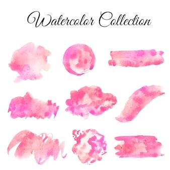 Ilustração de conjunto aquarela respingo rosa