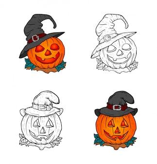 Ilustração de conjunto de abóbora de halloween