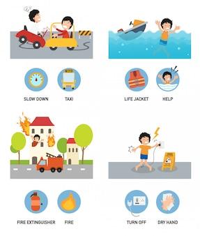 Ilustração de conjunto de acidentes.