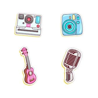 Ilustração de conjunto de adesivos coloridos e diversos Vetor Premium