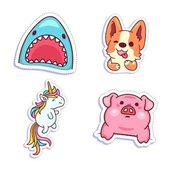 Ilustração de conjunto de adesivos coloridos e diversos