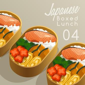 Ilustração de conjunto de almoço em caixa japonesa