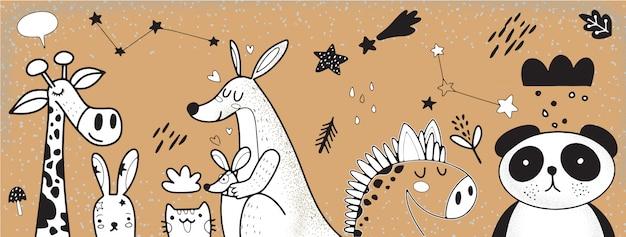 Ilustração de conjunto de animais dos desenhos animados
