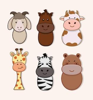 Ilustração de conjunto de animais fofos