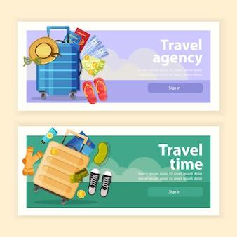 Ilustração de conjunto de banners de viagens horizontais