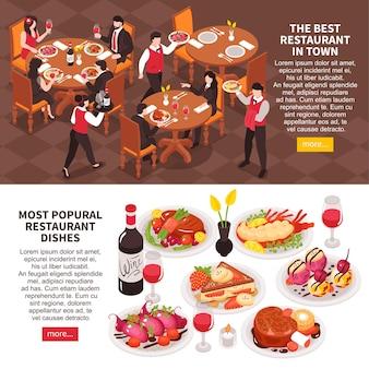 Ilustração de conjunto de banners isométricos horizontais de restaurante