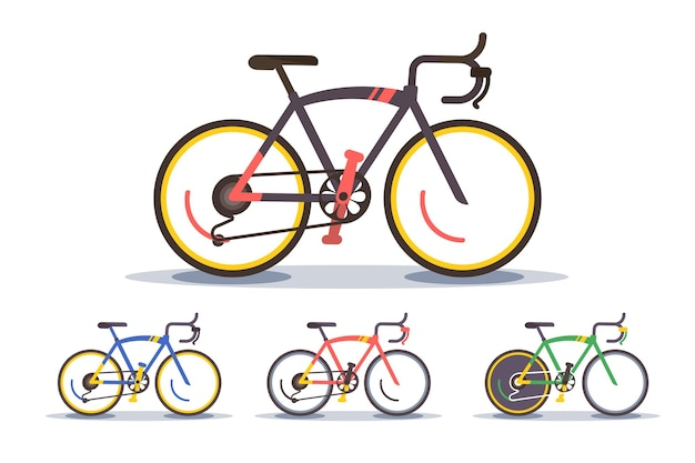 Ilustração de conjunto de bicicleta esportiva. coleção de bicicletas de montanha modernas