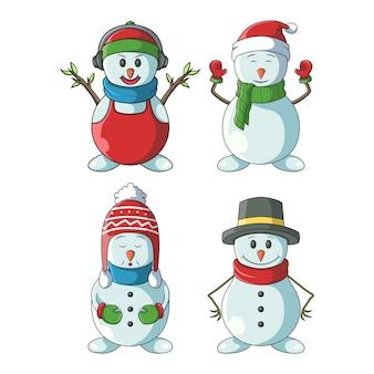 Ilustração de conjunto de boneco de neve fofo
