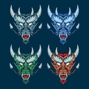 Ilustração de conjunto de cabeça de dragão mítico