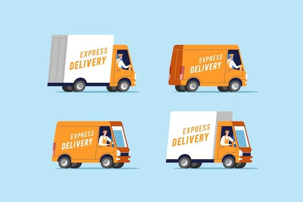 Ilustração de conjunto de caminhões de entrega