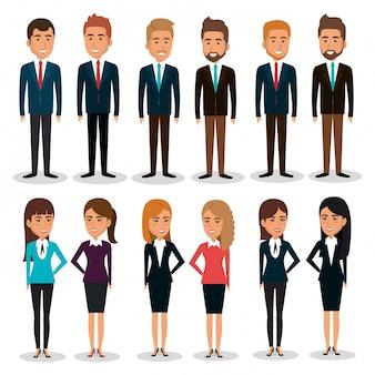 Ilustração de conjunto de caracteres de trabalho em equipe de empresários