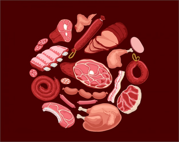 Ilustração de conjunto de carne. carne fresca e lingüiça cozida, salame e frango, bacon