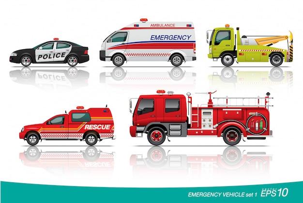 Ilustração de conjunto de carro de emergência