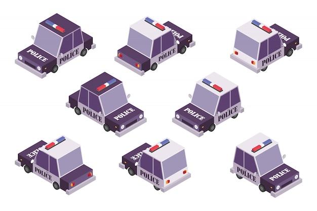 Ilustração de conjunto de carro de polícia
