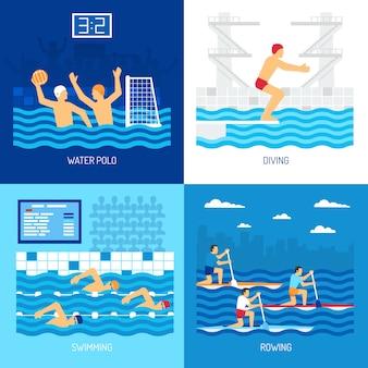 Ilustração de conjunto de cartão de esporte de água