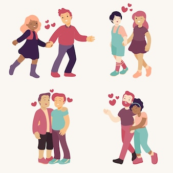 Ilustração de conjunto de casais apaixonados