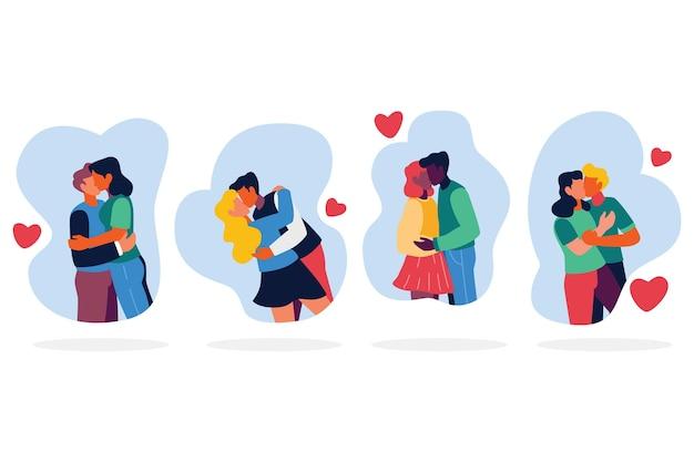 Ilustração de conjunto de casais se beijando