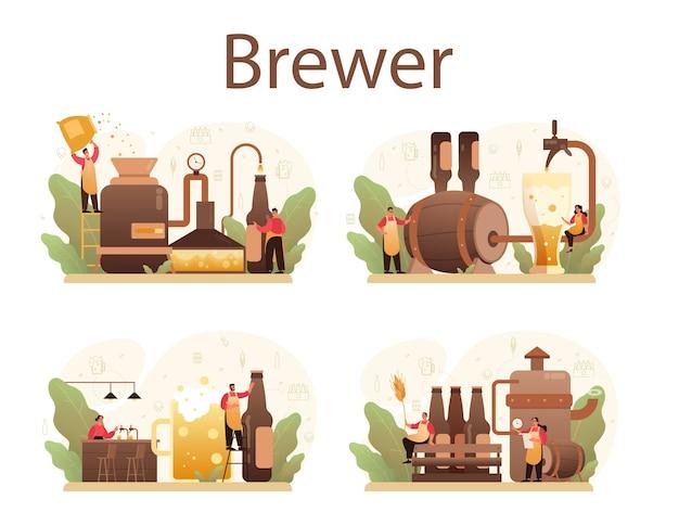 Ilustração de conjunto de cervejaria