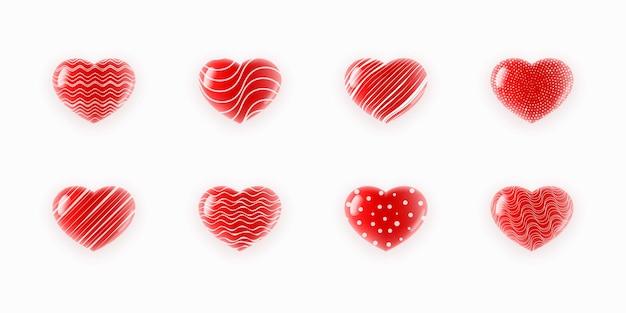 Ilustração de conjunto de corações texturizados fofos