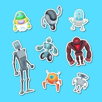 Ilustração de conjunto de cores de adesivo de robôs dos desenhos animados