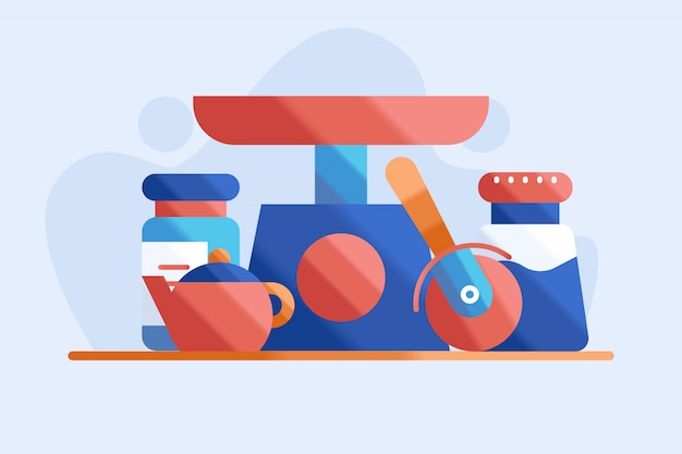 Ilustração de conjunto de cozinha