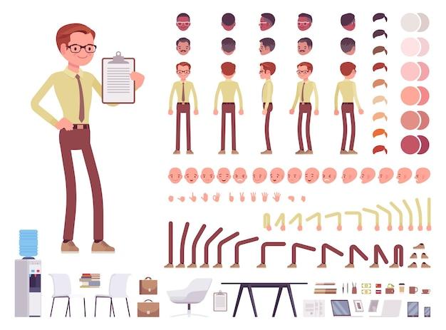 Ilustração de conjunto de criação de personagem de escriturário masculino