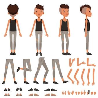 Ilustração de conjunto de criação de personagem de menino