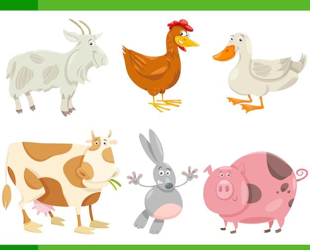 Ilustração de conjunto de desenhos animados de animais de fazenda