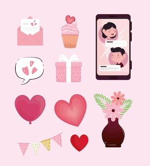 Ilustração de conjunto de dez ícones para o dia dos namorados