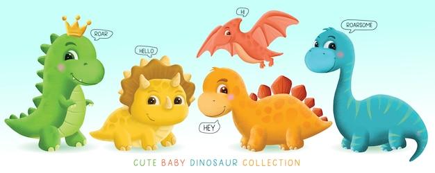 Ilustração de conjunto de dinossauro bebê fofo desenhado à mão