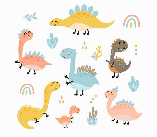 Ilustração de conjunto de dinossauros fofos