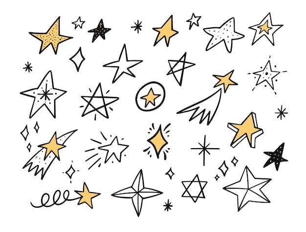 Ilustração de conjunto de doodle de estrelas