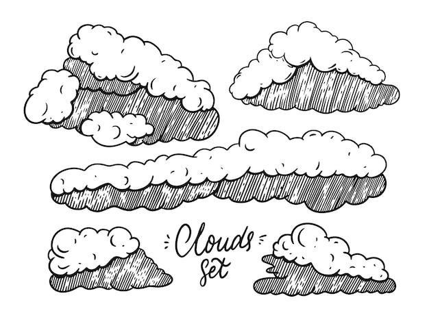Ilustração de conjunto de doodle de nuvens