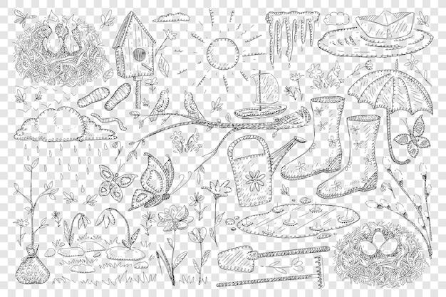 Ilustração de conjunto de doodle de primavera e agricultura