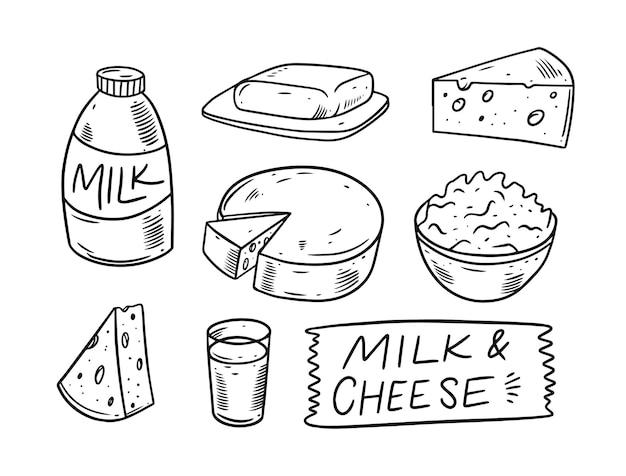 Ilustração de conjunto de doodle de produtos lácteos