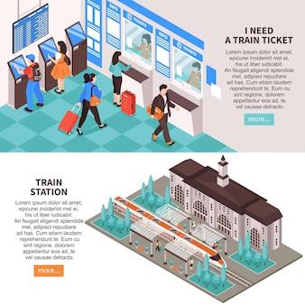 Ilustração de conjunto de duas estações ferroviárias isométricas