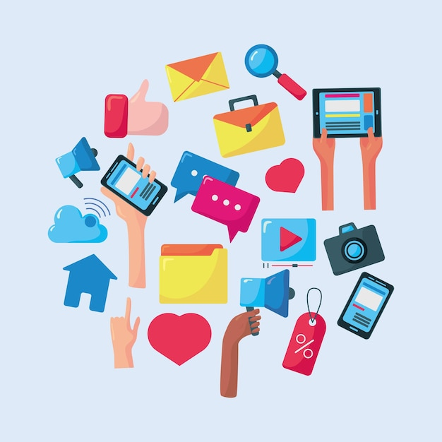 Ilustração de conjunto de elementos de mídia social