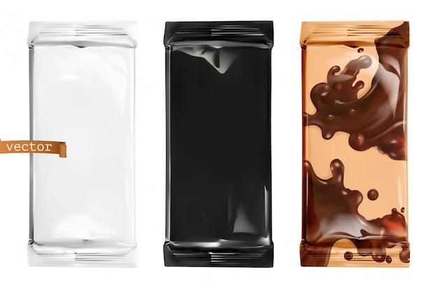 Ilustração de conjunto de embalagens de chocolate